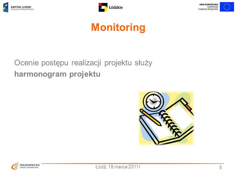 Monitoring Ocenie postępu realizacji projektu służy harmonogram projektu Łódź, 18 marca 2011r