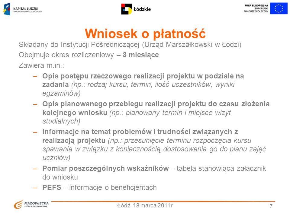 Wniosek o płatność Składany do Instytucji Pośredniczącej (Urząd Marszałkowski w Łodzi) Obejmuje okres rozliczeniowy – 3 miesiące.