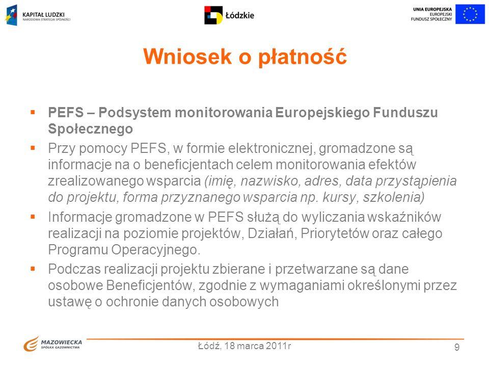 Wniosek o płatność PEFS – Podsystem monitorowania Europejskiego Funduszu Społecznego.