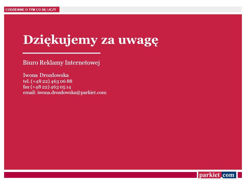 Dziękujemy za uwagę Biuro Reklamy Internetowej Iwona Drozdowska