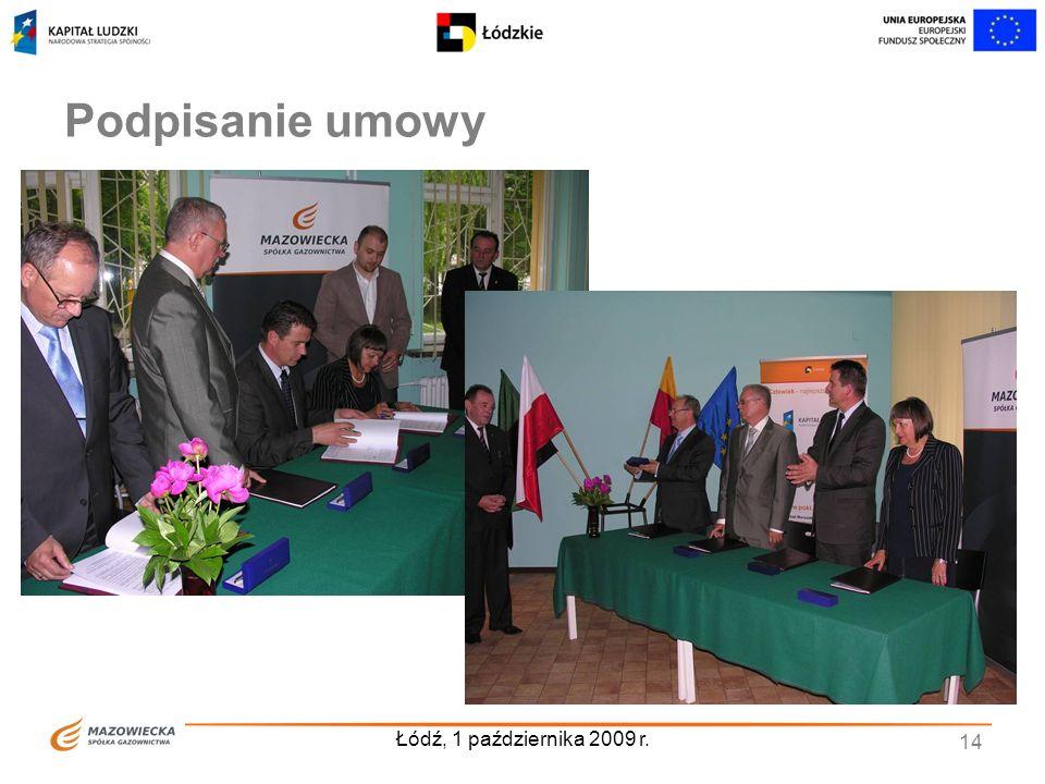 Podpisanie umowy Łódź, 1 października 2009 r.