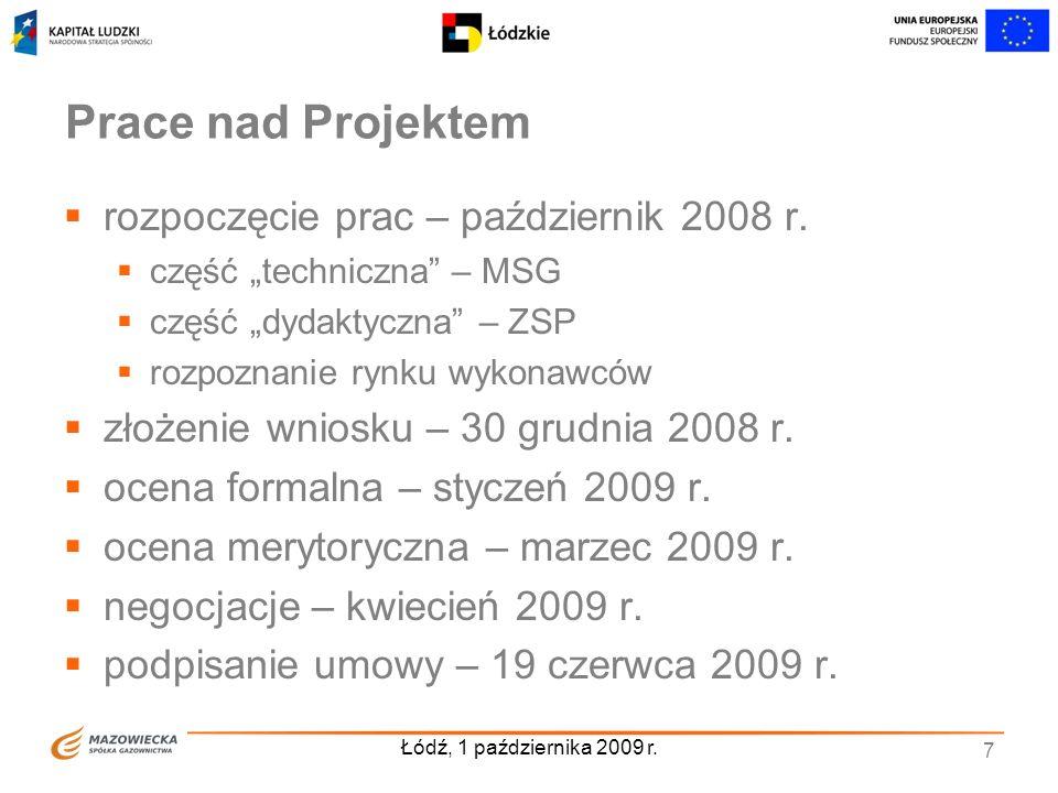 Prace nad Projektem rozpoczęcie prac – październik 2008 r.