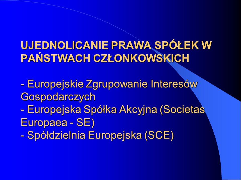 UJEDNOLICANIE PRAWA SPÓŁEK W PAŃSTWACH CZŁONKOWSKICH - Europejskie Zgrupowanie Interesów Gospodarczych - Europejska Spółka Akcyjna (Societas Europaea - SE) - Spółdzielnia Europejska (SCE)
