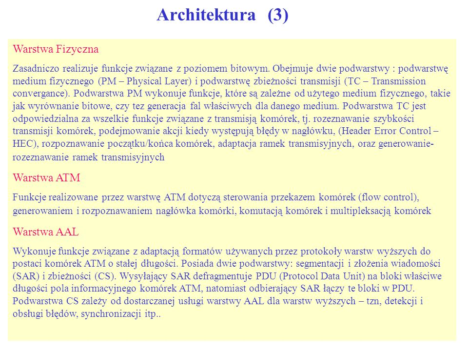 Architektura (3) Warstwa Fizyczna Warstwa ATM Warstwa AAL