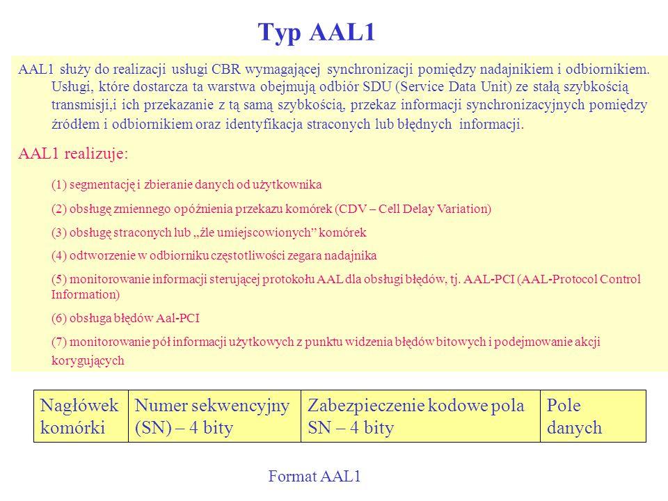 Typ AAL1 Nagłówek komórki Numer sekwencyjny (SN) – 4 bity