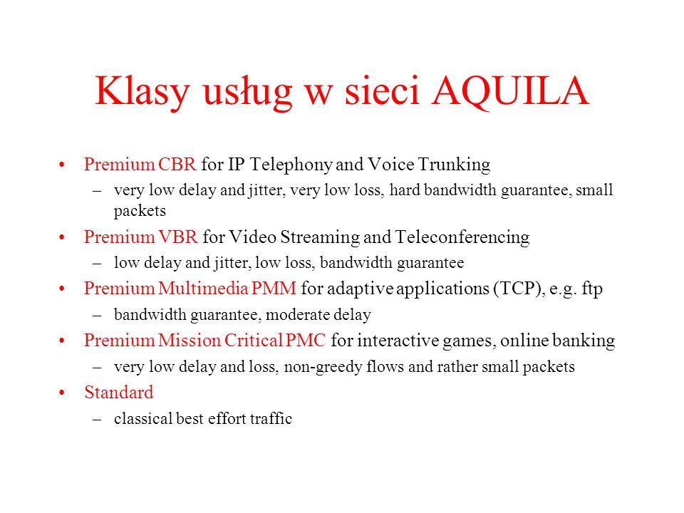 Klasy usług w sieci AQUILA