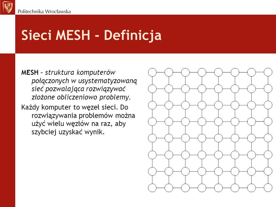 Sieci MESH - DefinicjaMESH – struktura komputerów połączonych w usystematyzowaną sieć pozwalająca rozwiązywać złożone obliczeniowo problemy.