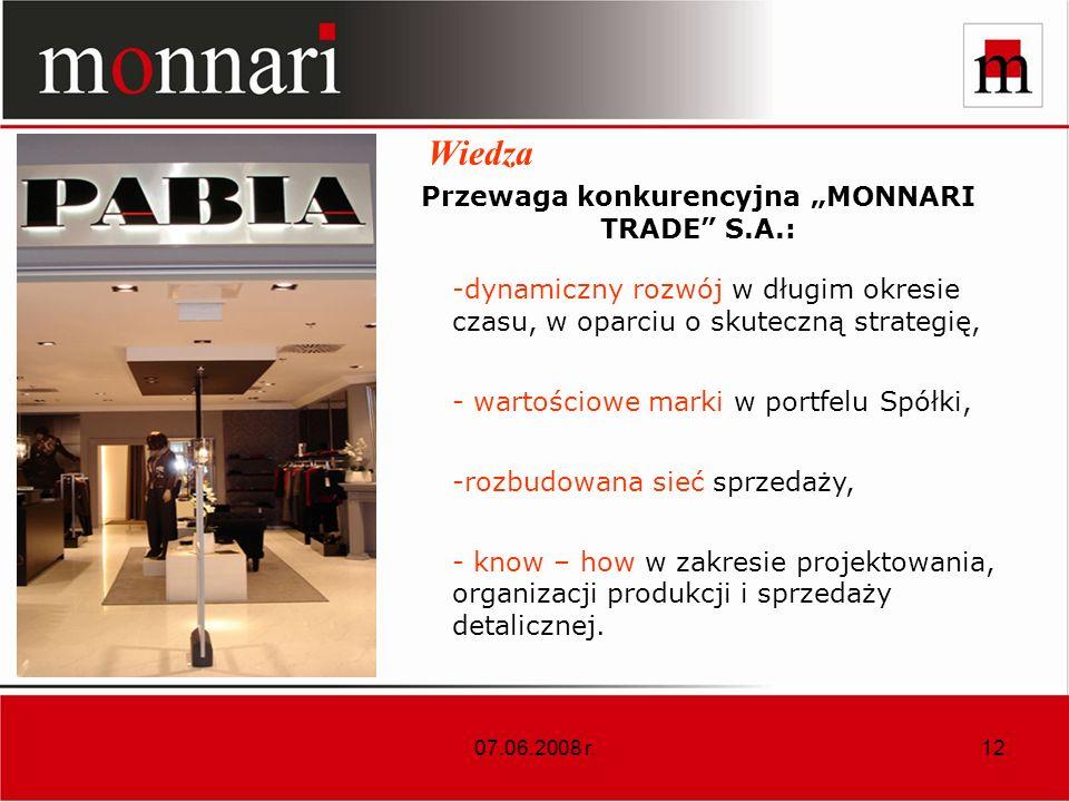 "Przewaga konkurencyjna ""MONNARI TRADE S.A.:"