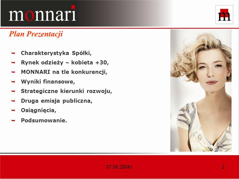 Plan Prezentacji Charakterystyka Spółki, Rynek odzieży – kobieta +30,