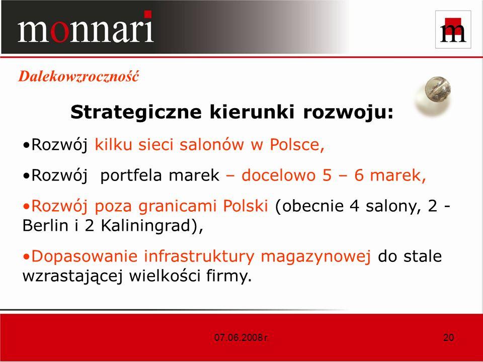 Strategiczne kierunki rozwoju: Rozwój kilku sieci salonów w Polsce,