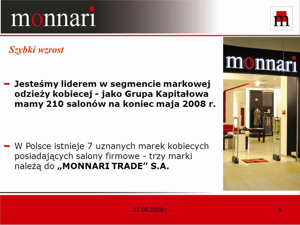 Szybki wzrost Jesteśmy liderem w segmencie markowej odzieży kobiecej - jako Grupa Kapitałowa mamy 210 salonów na koniec maja 2008 r.
