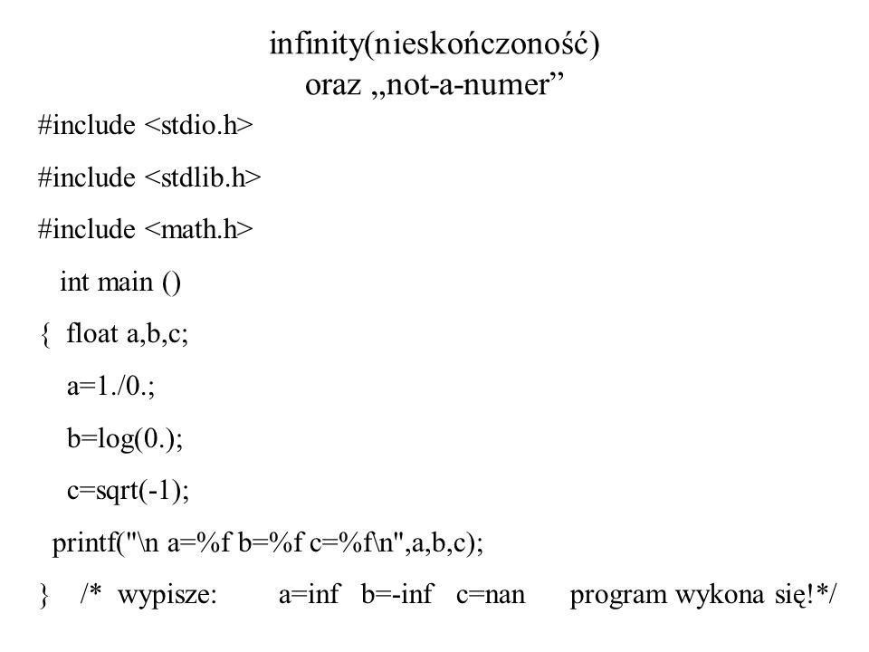 """infinity(nieskończoność) oraz """"not-a-numer"""