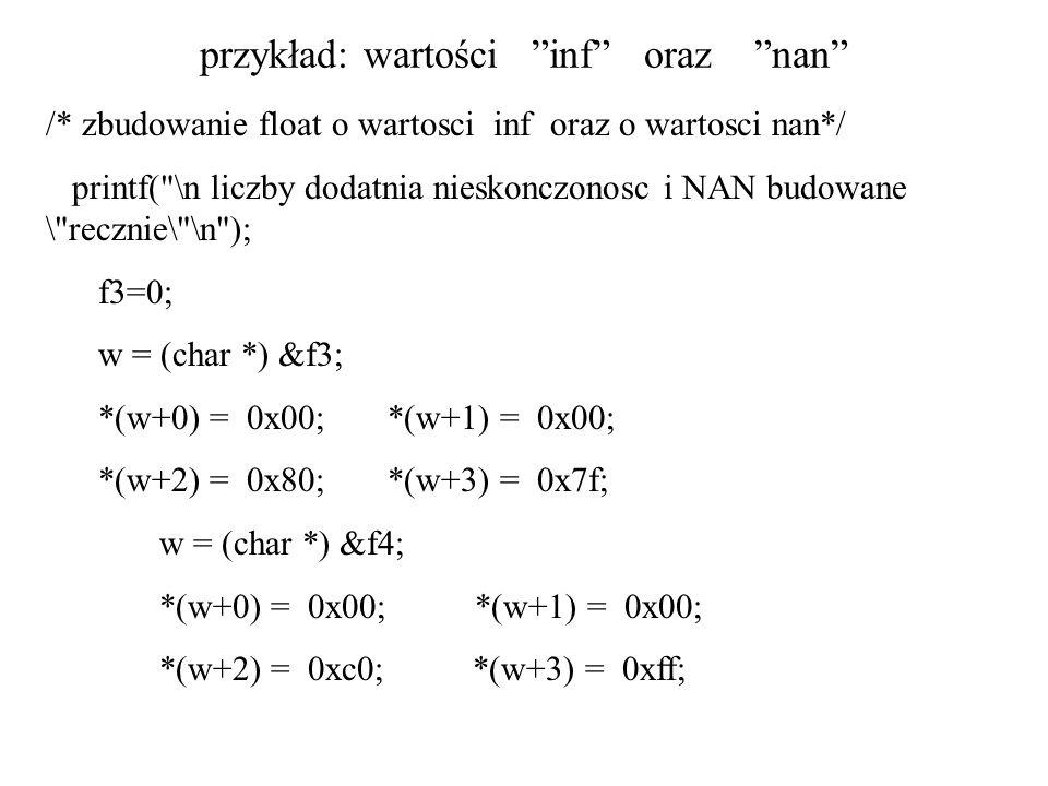 przykład: wartości inf oraz nan