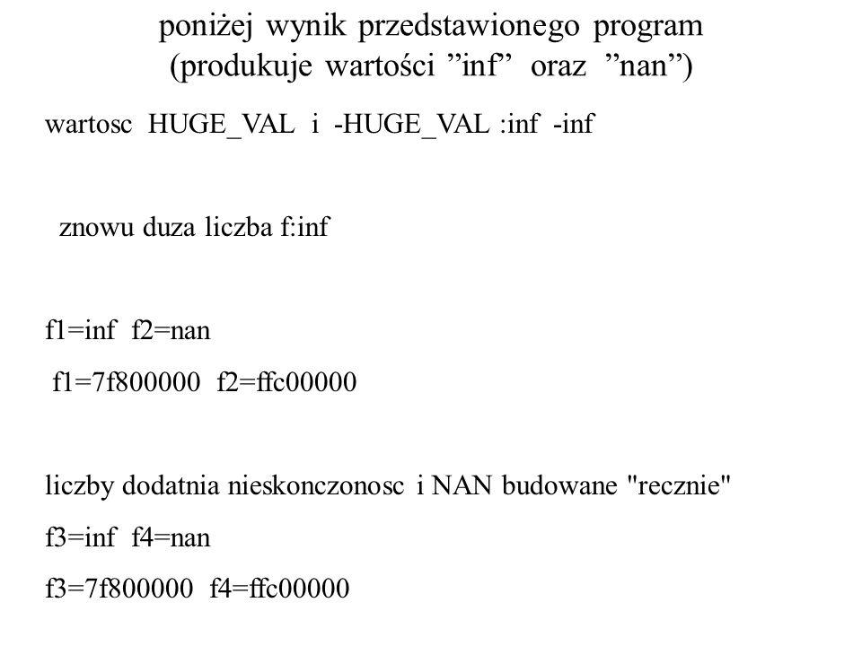 poniżej wynik przedstawionego program (produkuje wartości inf oraz nan )