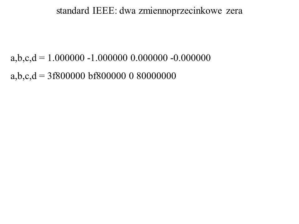 standard IEEE: dwa zmiennoprzecinkowe zera