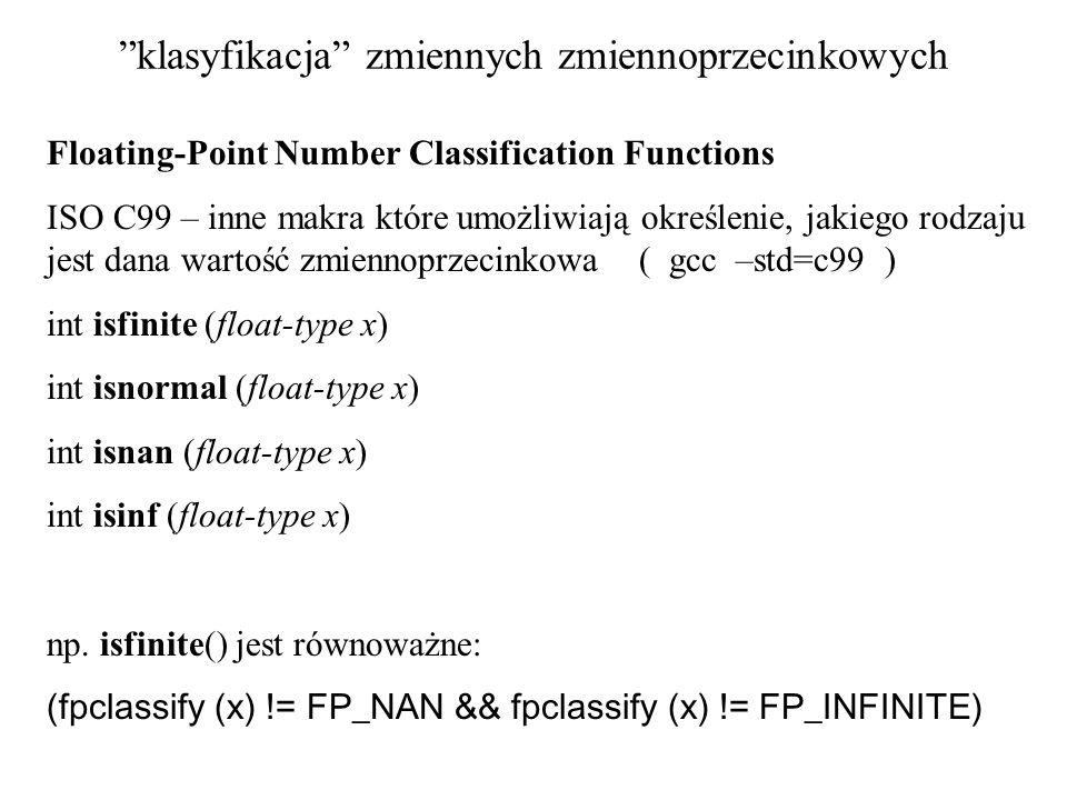 klasyfikacja zmiennych zmiennoprzecinkowych
