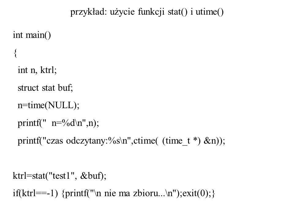 przykład: użycie funkcji stat() i utime()