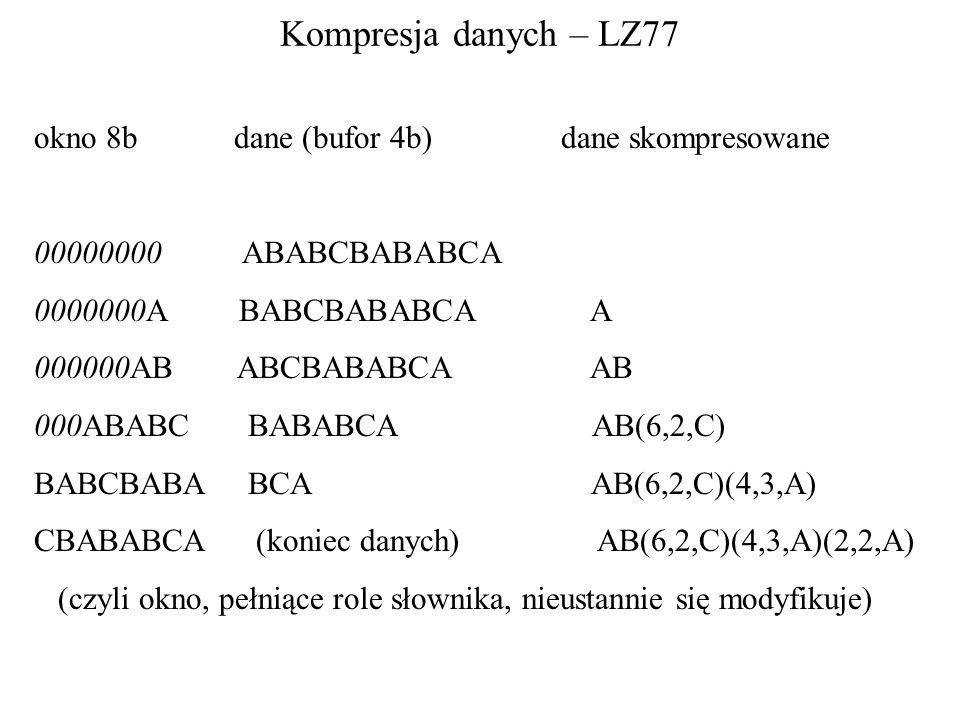 Kompresja danych – LZ77 okno 8b dane (bufor 4b) dane skompresowane