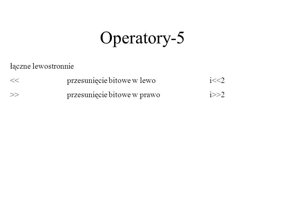 Operatory-5 łączne lewostronnie
