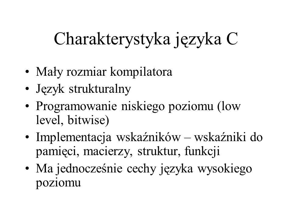 Charakterystyka języka C