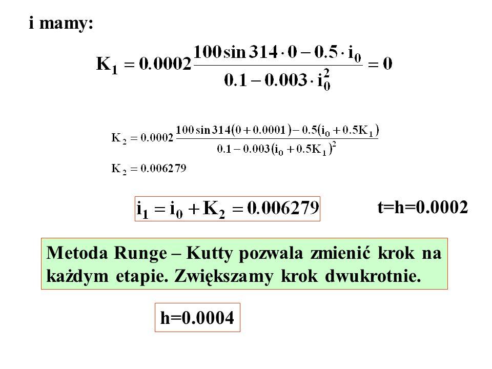 i mamy: t=h=0.0002. Metoda Runge – Kutty pozwala zmienić krok na. każdym etapie. Zwiększamy krok dwukrotnie.