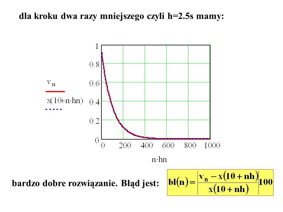 dla kroku dwa razy mniejszego czyli h=2.5s mamy:
