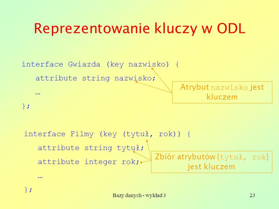 Reprezentowanie kluczy w ODL