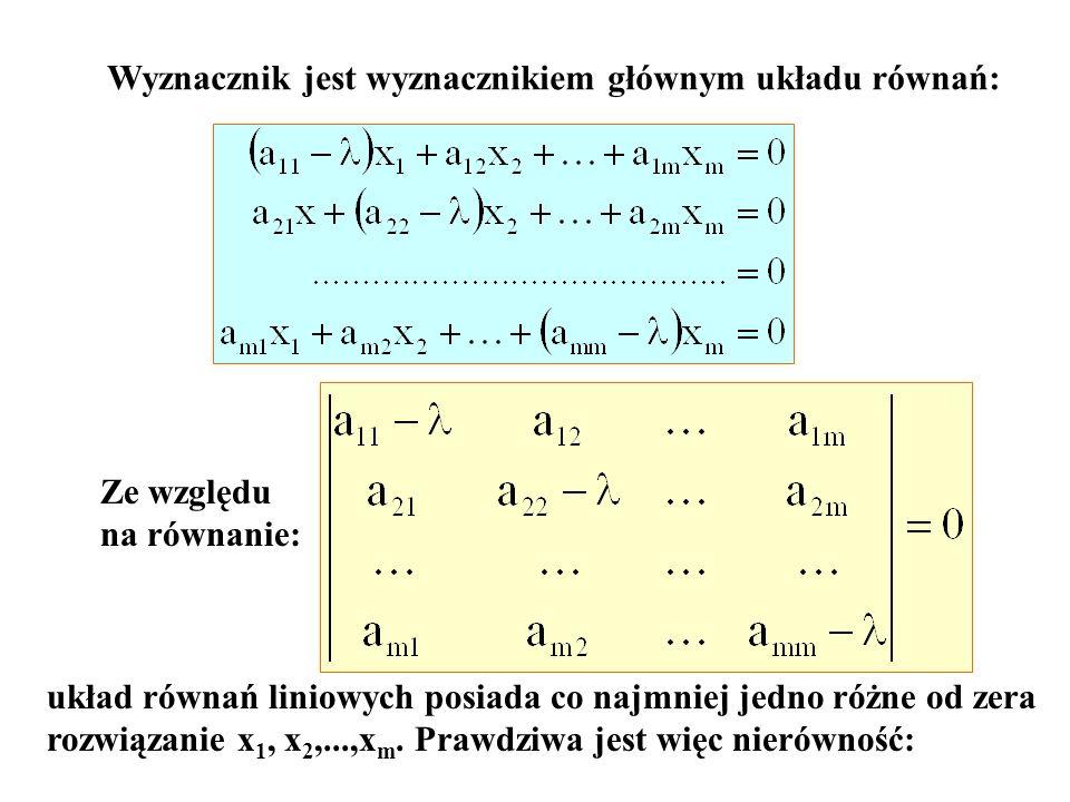 Wyznacznik jest wyznacznikiem głównym układu równań: