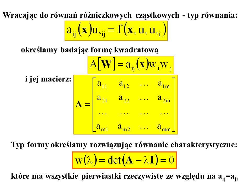Wracając do równań różniczkowych cząstkowych - typ równania: