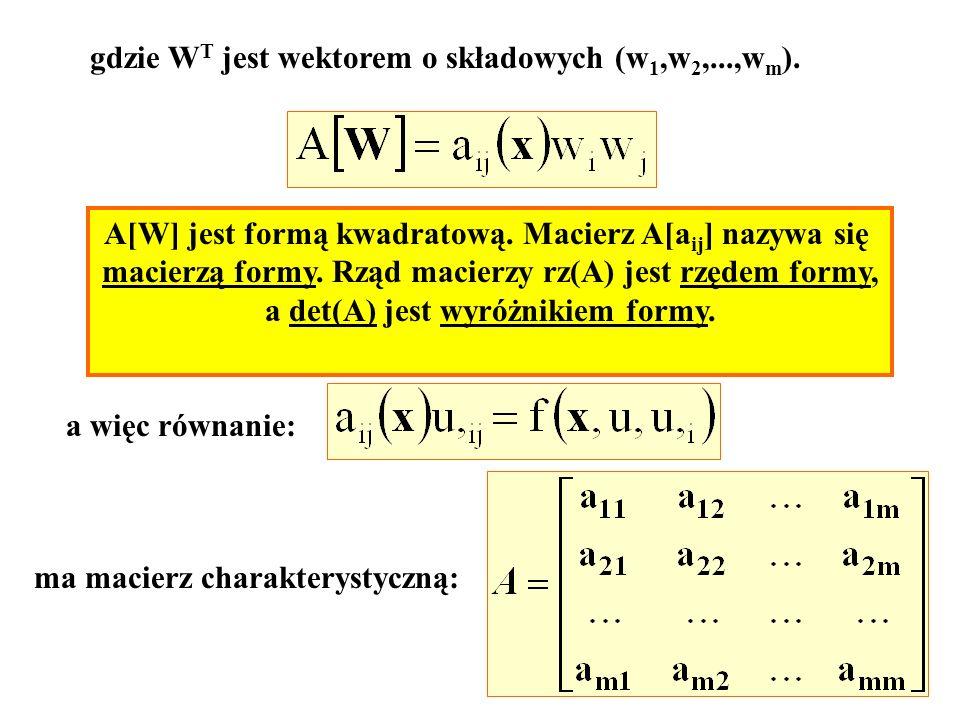 gdzie WT jest wektorem o składowych (w1,w2,...,wm).