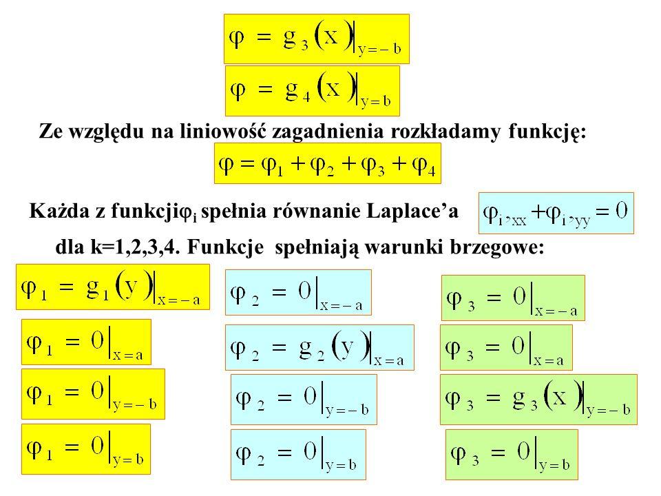 Ze względu na liniowość zagadnienia rozkładamy funkcję: