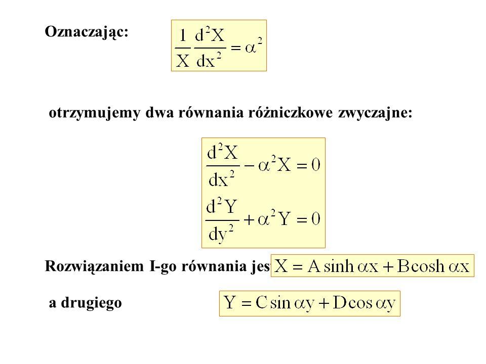Oznaczając:otrzymujemy dwa równania różniczkowe zwyczajne: Rozwiązaniem I-go równania jest.