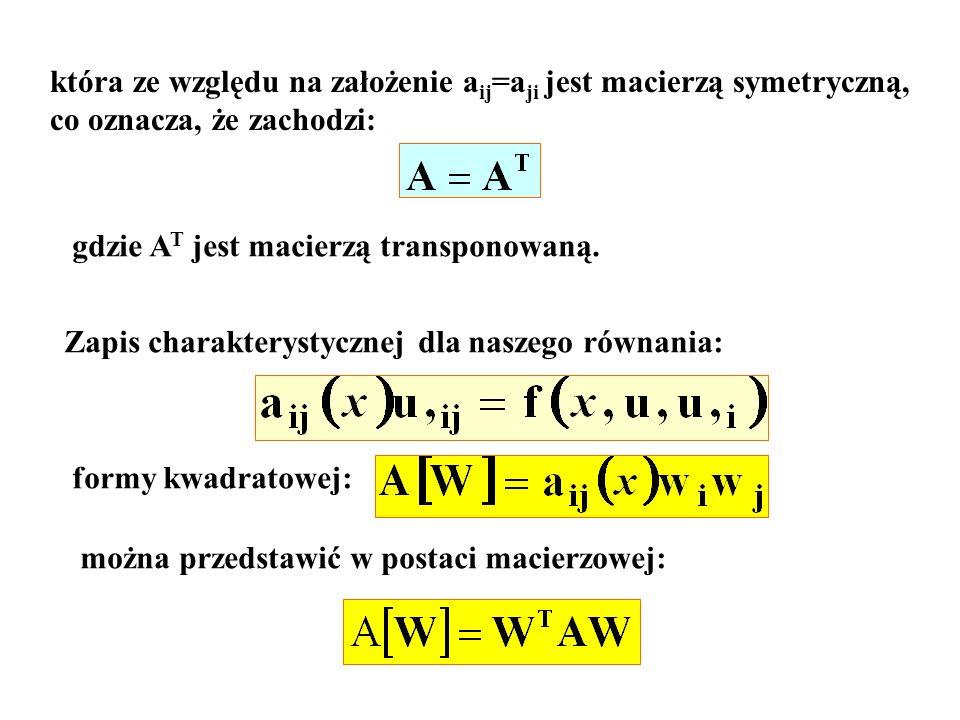 która ze względu na założenie aij=aji jest macierzą symetryczną,