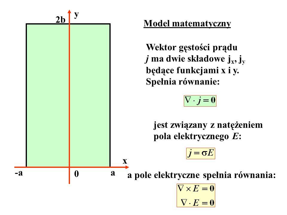 y2b. Model matematyczny. Wektor gęstości prądu. j ma dwie składowe jx, jy. będące funkcjami x i y. Spełnia równanie: