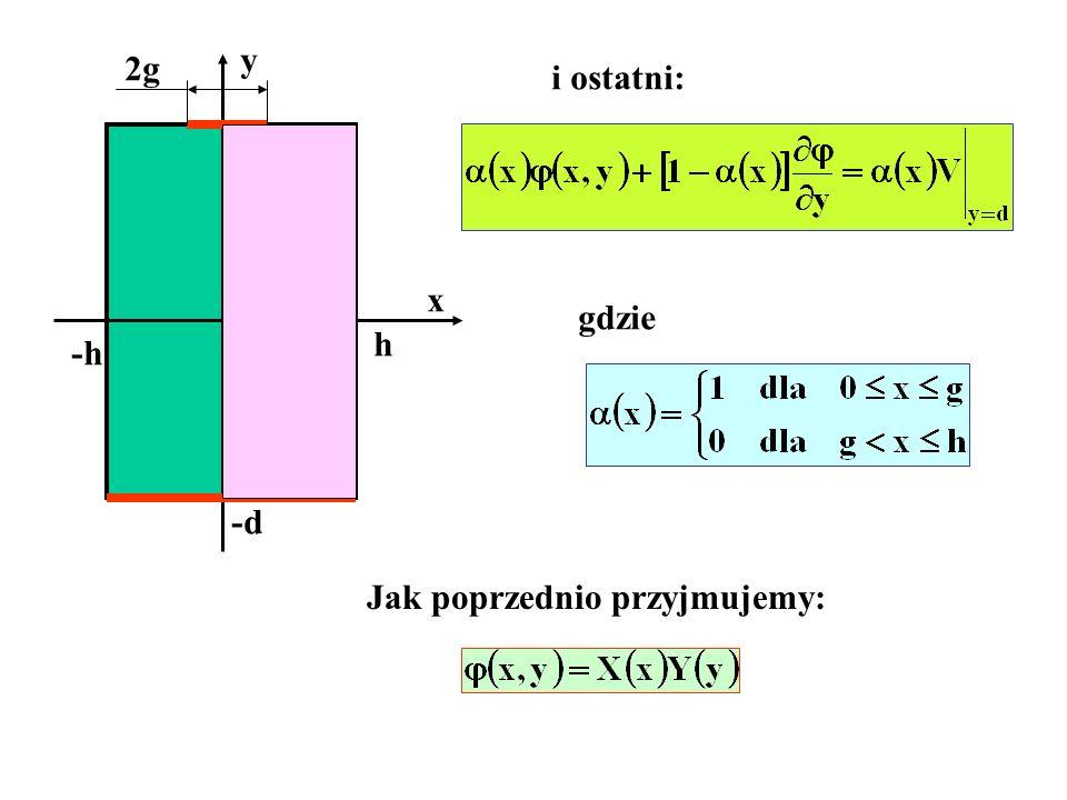 y 2g i ostatni: d x gdzie h -h -d Jak poprzednio przyjmujemy: