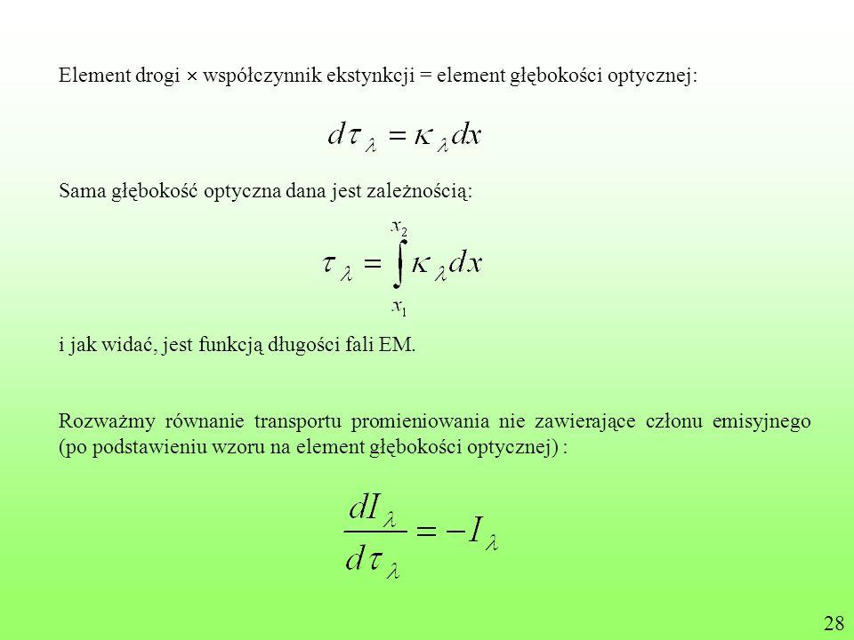 Element drogi  współczynnik ekstynkcji = element głębokości optycznej: