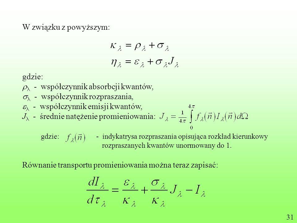 rl - współczynnik absorbcji kwantów, sl - współczynnik rozpraszania,