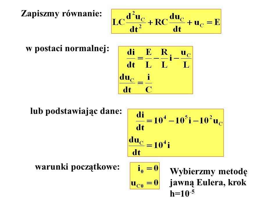 Zapiszmy równanie: w postaci normalnej: lub podstawiając dane: warunki początkowe: Wybierzmy metodę.