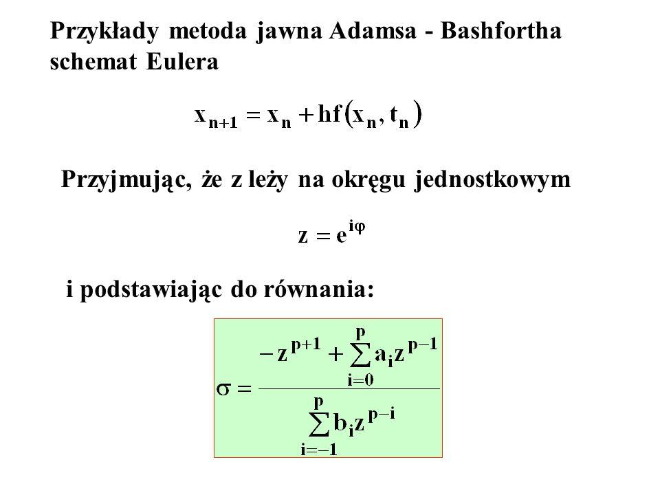 Przykłady metoda jawna Adamsa - Bashfortha