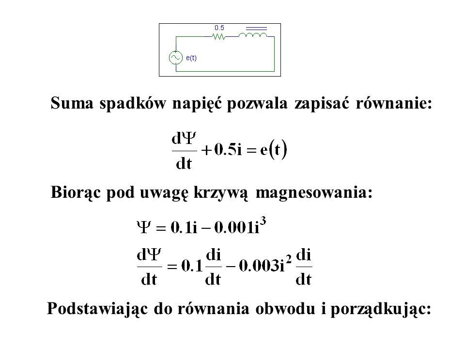 Suma spadków napięć pozwala zapisać równanie: