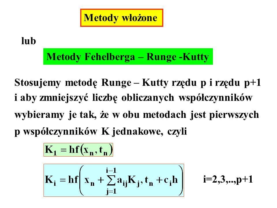 Metody włożone lub. Metody Fehelberga – Runge -Kutty. Stosujemy metodę Runge – Kutty rzędu p i rzędu p+1.