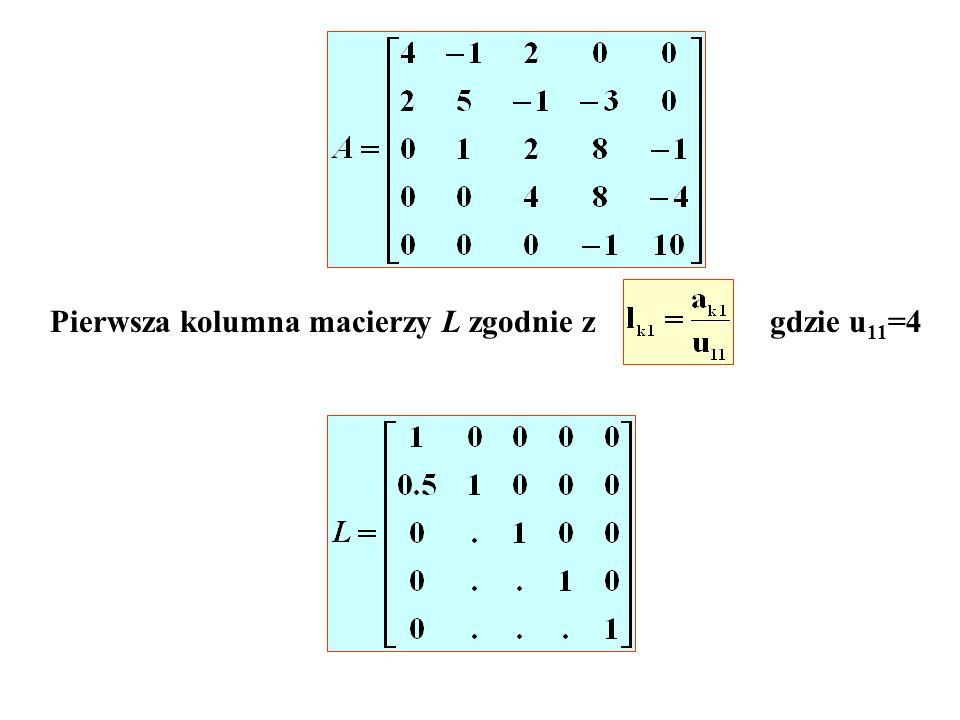 Pierwsza kolumna macierzy L zgodnie z