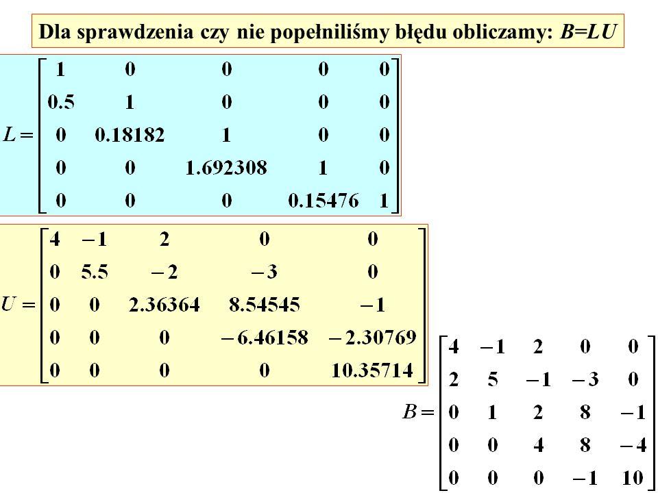 Dla sprawdzenia czy nie popełniliśmy błędu obliczamy: B=LU
