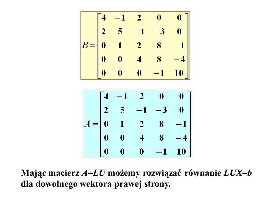 Mając macierz A=LU możemy rozwiązać równanie LUX=b