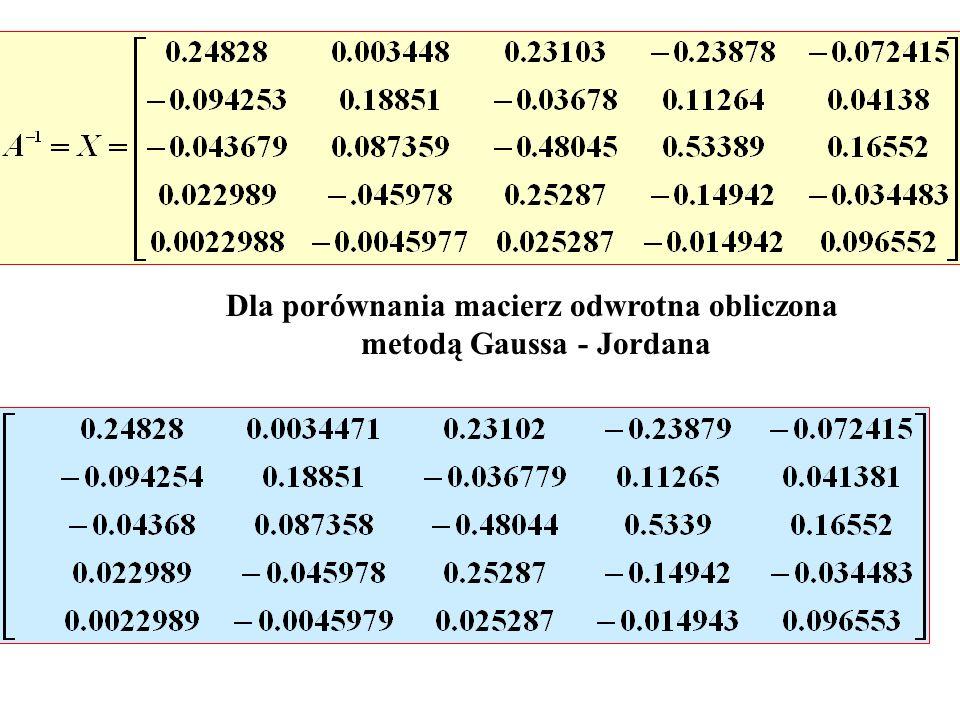 Dla porównania macierz odwrotna obliczona metodą Gaussa - Jordana