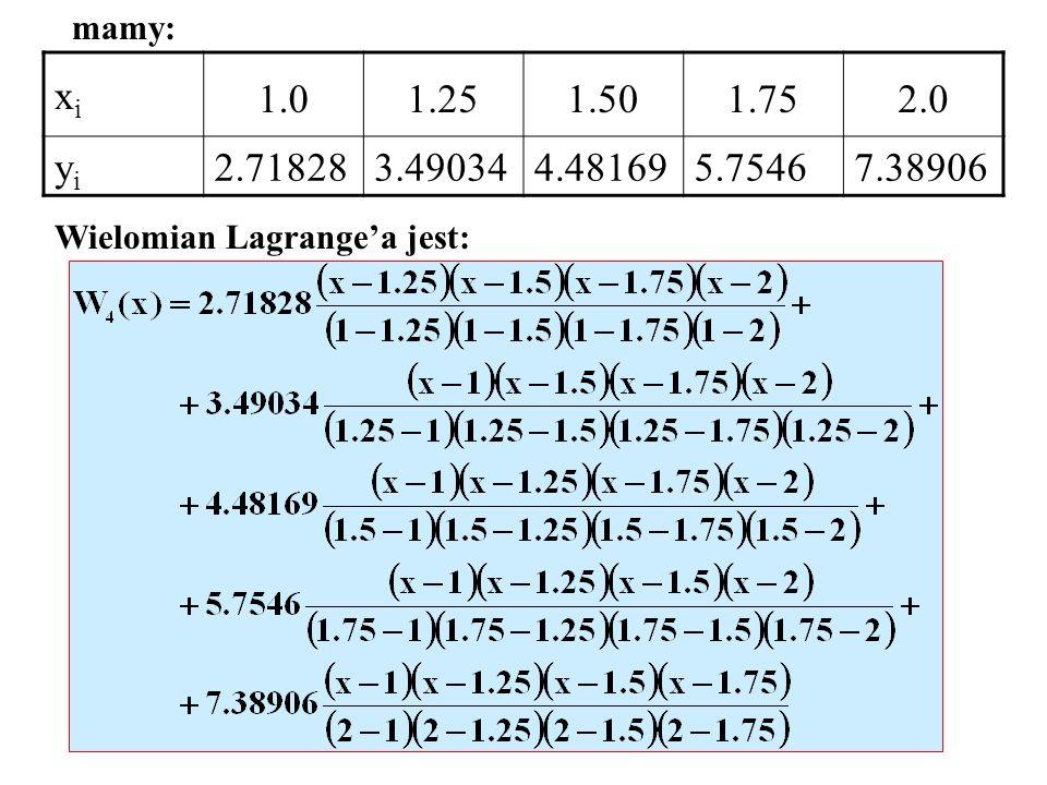 mamy: xi. 1.0. 1.25. 1.50. 1.75. 2.0. yi.