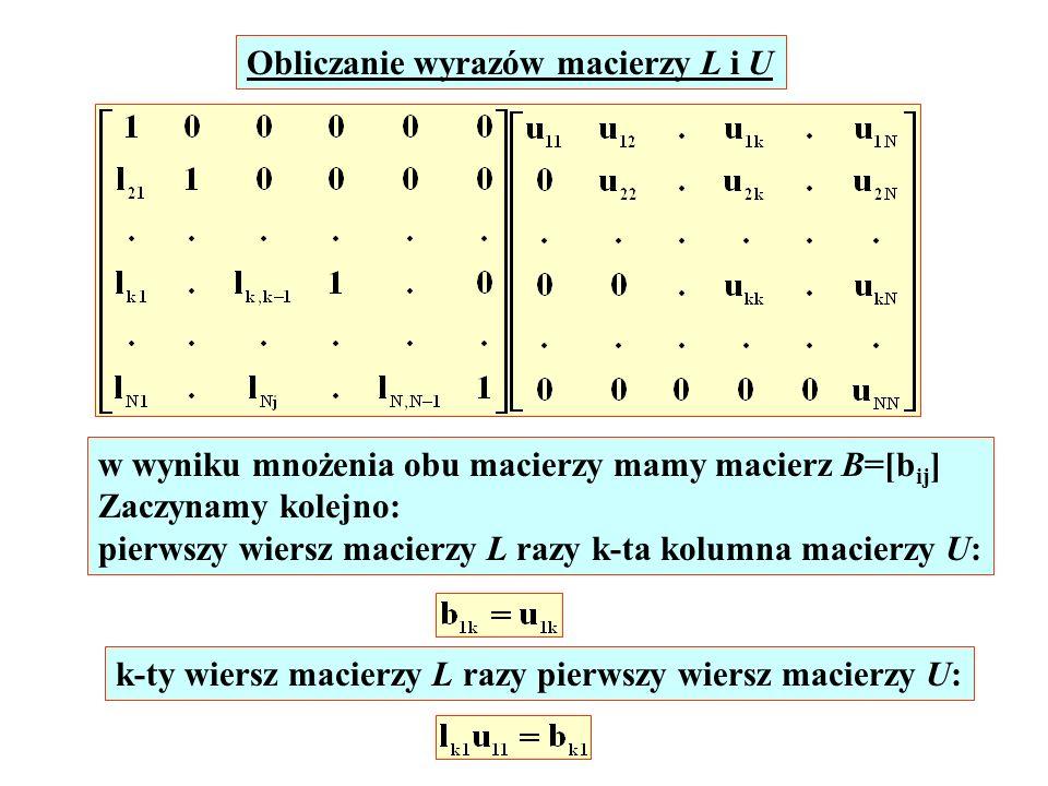 Obliczanie wyrazów macierzy L i U