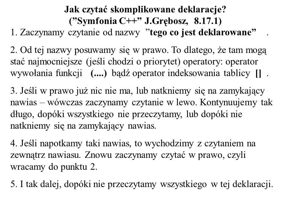 Jak czytać skomplikowane deklaracje. ( Symfonia C++ J. Grębosz, 8. 17