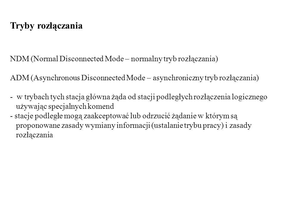 Tryby rozłączania NDM (Normal Disconnected Mode – normalny tryb rozłączania) ADM (Asynchronous Disconnected Mode – asynchroniczny tryb rozłączania)