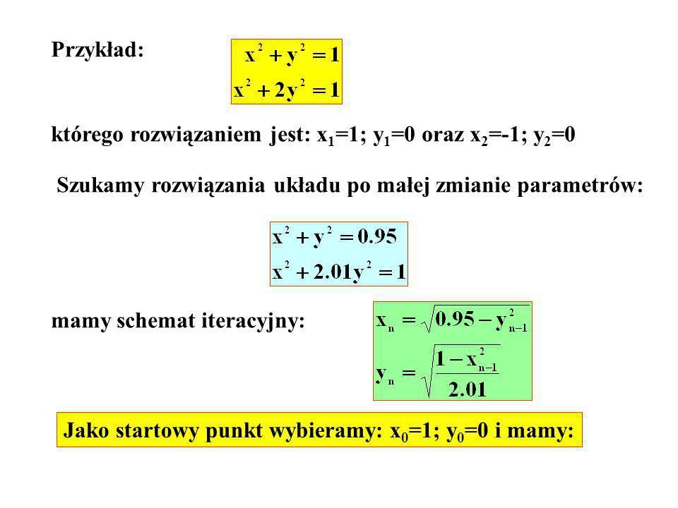 Przykład: którego rozwiązaniem jest: x1=1; y1=0 oraz x2=-1; y2=0. Szukamy rozwiązania układu po małej zmianie parametrów: